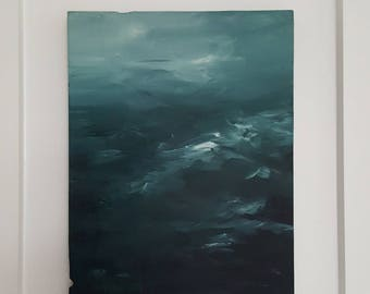 Thoughts Oceanscape Acrylic Painting on Reclaimed Wood Panel Original Artwork