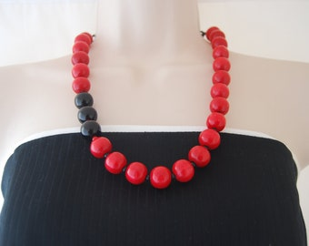Black and Red Statement Necklace Red Beads and Black Onyx Beaded Necklace Gift Chunky Bold
