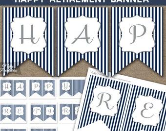 Retirement Banner - Printable Happy Retirement Banner - Navy Blue Silver Glitter Retirement Party Decorations - NSG