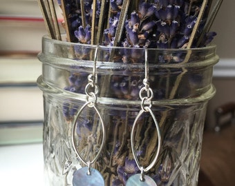 Sterling Silver Blue Capiz Shell Earrings with Oval Accent