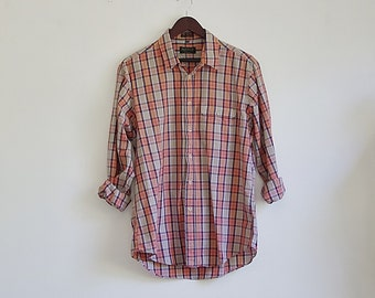 Vintage Mens Plaid Shirt, 90s Plaid Shirt, Cotton Shirt, Long Sleeve Shirt, Button Up Collared Shirt, Plaid Shirt, Grunge Shirt, Large XL