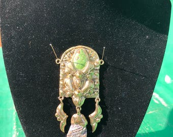 NYMPH pendant with Turquoise and abalone