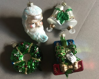 Vintage Blown Glass Ornament set of 4