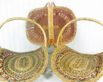Vintage basket,Wicker Basket set, flower basket, French farmhouse,gathering basket, vintage wicker