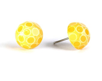 Sale Clearance 20% OFF - Yellow polka dot cameo surgical steel hypoallergenic stud earrings READY to ship (355)