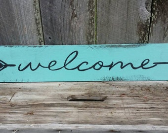 Rustic Welcome Wood Sign