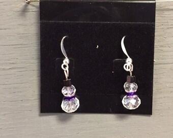 Glass Bead Mini Snowman Earrings