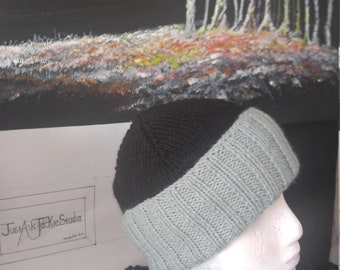 Black and Teal Hand Knitted Womans hat.