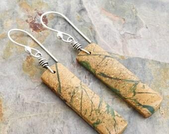 Golden Brown Gemstone Earrings - Rectangle Dangle Earrings  - Sterling Silver - Green Canyon Jasper - Bronze Color - Green Streaks - #4867
