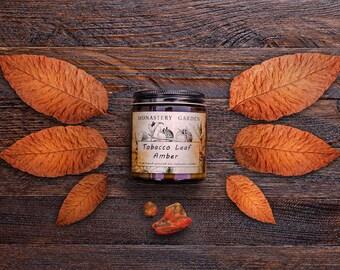 Don naturel de feuilles de tabac de soja parfumée & ambre bougies Vegan, 4 oz, cadeau de petit ami, pour lui