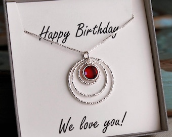 Eternity Birthday Necklace - Sterling Silver Birthstone neckalce - Birthday Gift