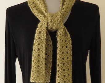 Scarf Light Olive with Silver Bead Trim