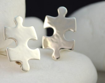 Puzzle Sterling Silver Clip-On Earrings