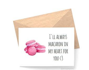 Macaron// Macaron Card,  Anniversary Card,  Macaron Gift Ideas, Gift for Macaron Lover, I Love You Card, Love Card, Anniversary Card