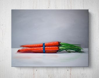 Bunch of Carrots - Oil Painting Giclee Gallery Mounted Canvas Wall Art Print