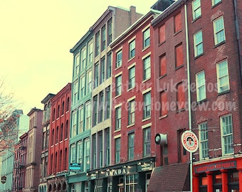 Philadelphia Buildings - Wall Decor - Fine Art Photography Print - Red, Teal, Brick, Store Facade, Yellow