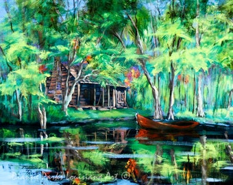 The Red Pirogue, Louisiana Bayou, Louisiana Swamp Cabin, FREE SHIPPING! New Orleans Bayou and Swamp Art, Art Print, Louisiana  Decor