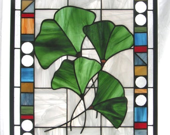 "Stained Glass Window Panel--Four Gingko Leaves with Geo Border- 16"" x 22"""