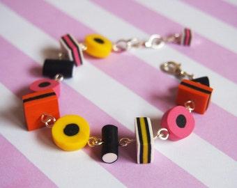 Liquirizia Allsorts Bracciale (liquirizia allsorts cibo braccialetto candy bracciale braccialetto carino regalo per gioielli di argilla del polimero di ragazza colorato)