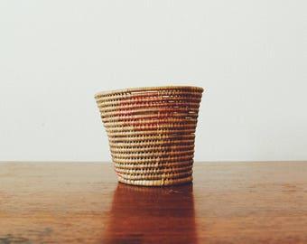 Vintage Coiled Basket | Coiled Basket | Catchall Basket | African Coiled Basket | Plant Basket | Coiled Rope Basket | Valet | Floral Basket