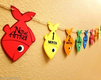 Ofishally One First Year Photo Banner, 12 Month Birthday Banner, First Year Picture Banner, Fish Birthday Banner, Newborn to 12 Month Photos