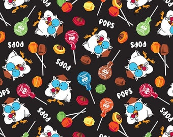 It's Tootsie Roll Time! Tootsie Owls C6811 Black Cotton Fabric by Riley Blake![Choose Your Cut Size]