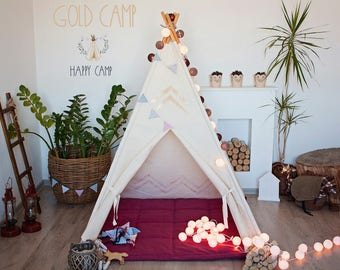 Gold Play Tent, Play tent, Tent, Play tent for kids, Tent for kids, Play tent for girl, Kids tent, Play tent teepee, Play teepee, Teepe tent