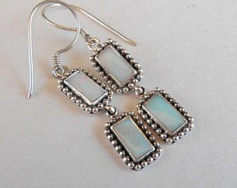 Balinese Silver Opal dangle earrings / sterling silver 925 / Bali handmade jewelry / 1.75 inch long