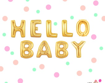 "16"" Gold HELLO BABY balloons/banner. Baby shower balloons. Mom to be balloons. Baby balloons. Oh baby balloons. Baby shower decor. Baby"