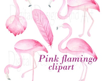 Flamingo clipart, Watercolor flamingo clip art, Watercolor clipart, Bird clipart, Tropical bird clipart, Pink flamingo illustration