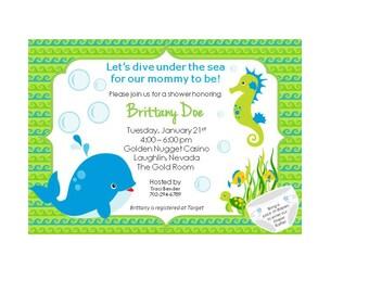 Ocean Theme Baby Shower Invite {Customizable}
