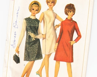 Vintage 1966 Simplicity 6676 Sewing Pattern Misses' One-Piece Dress or Jumper Size 12 Bust 32