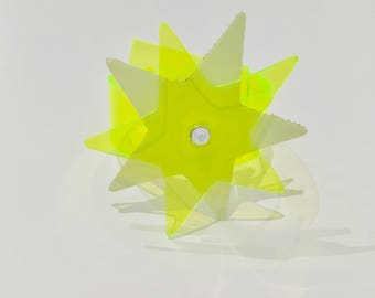 Star Bright PVC Kinky Christmas Cuff in glow in the dark leather and neon yellow/green pvc handmade and Embellished with a Preciosa crystal