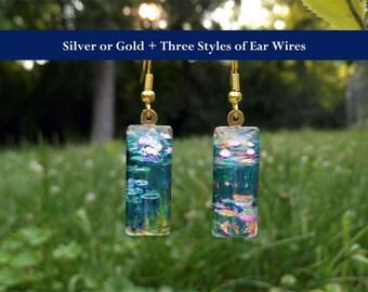 Monet Water Lily earrings, green, Monet earrings, Monet water lilies, small glass earrings, impressionism, green pink white, water lilies