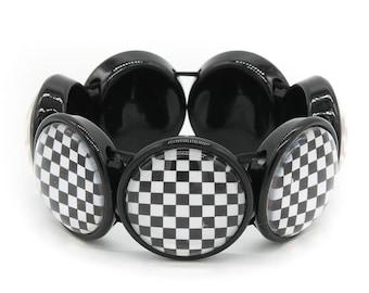 Black and White Checkered 25mm Glass Cameo Bracelet