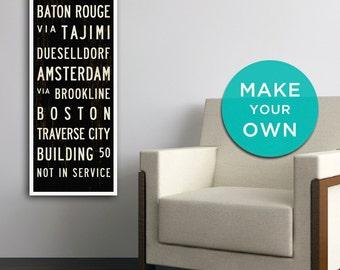 CUSTOM Subway Sign Art, Custom Wall Art, Personalized Subway Art, Bus  Scroll,