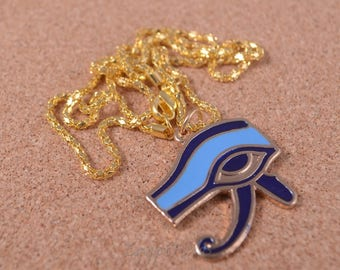 Egyptian Hand Made Brass Enameled Eye Of Horus Necklace