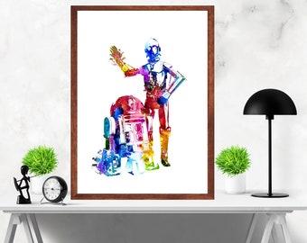 Star Wars C 3PO  R2 D2 Watercolor Painting Artwork Print Poster