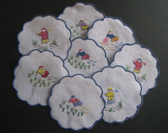 Coasters Set of 8 Embroidered Rice Paddy Workers Vintage
