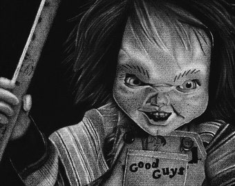 Chucky - Child's Play Charcoal Drawing Print