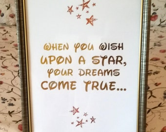 Disney Foil Print - A4 Print - When You Wish Upon A Star - Real Gold Foil - Home Decor - Nursery Print