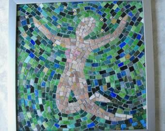 "Handmade Mosaic Art Wall Hanging ~ Mexican Smalti Glass Mosaic ""Leap of Faith"" ~ Handmade Inspirational Mosaic Art by ElleBelleArt"