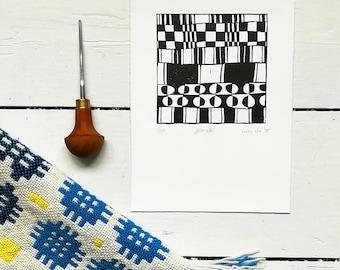 Carthenni, original linocut print, Wlsh blankets