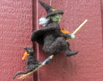 Needle Felted  Witch , Black Cat on a broomstick