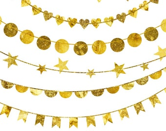 Pretty Gold Foil Bunting Clipart, Bunting Banner Instant Download, Wedding Clipart Bunting, Bunting Banner Clip Art