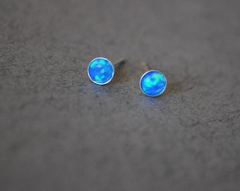 Opal stud. Opal earrings. Opal stud earrings. October birthstone. Opal stud White. Opal stud Blue. Small Opal studs. gift girlfriend earring
