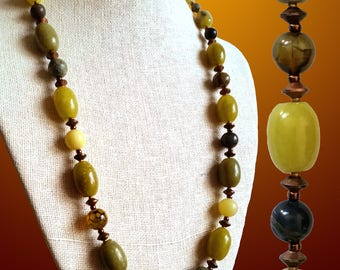GREEN GEMSTONE NECKLACE with Lemon Jade, Crackle Agate, Rhyolite, Serpentine, Copper. Round and Oval Beads. 23 Inch length. Natural Stones.