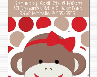 Personalized Bithday Invitation - GIRL - SOCK MONKEY - Red - Dots - 4x6 or 5x7