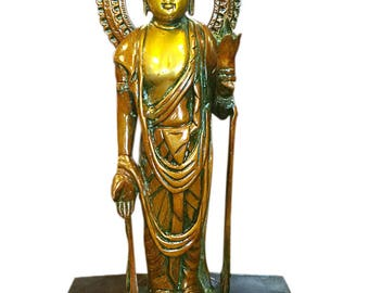 Meditation Indian Vintage Standing Buddha Kwan Yin Brass Statue protection and peace Yoga Decor ZEN CONSCIOUS Design