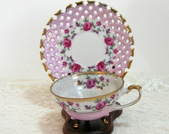 Napco Pink With Pink Roses Design Footed Teacup With Pierced Edge Saucer